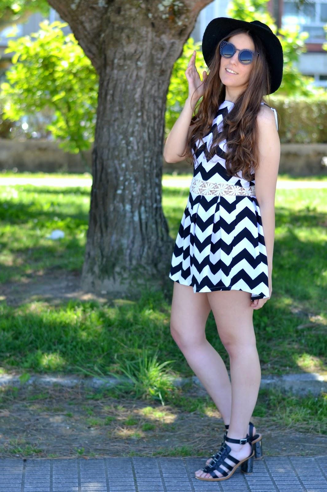 choies jumpsuit, black hat, sunnies, girl