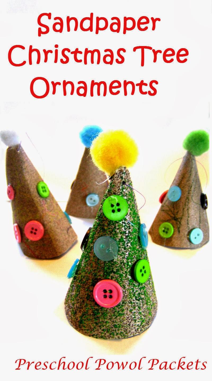 Sandpaper christmas tree ornament kids craft preschool for Preschool christmas ornament crafts