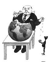 Banquero gordo alimentandose del mundo