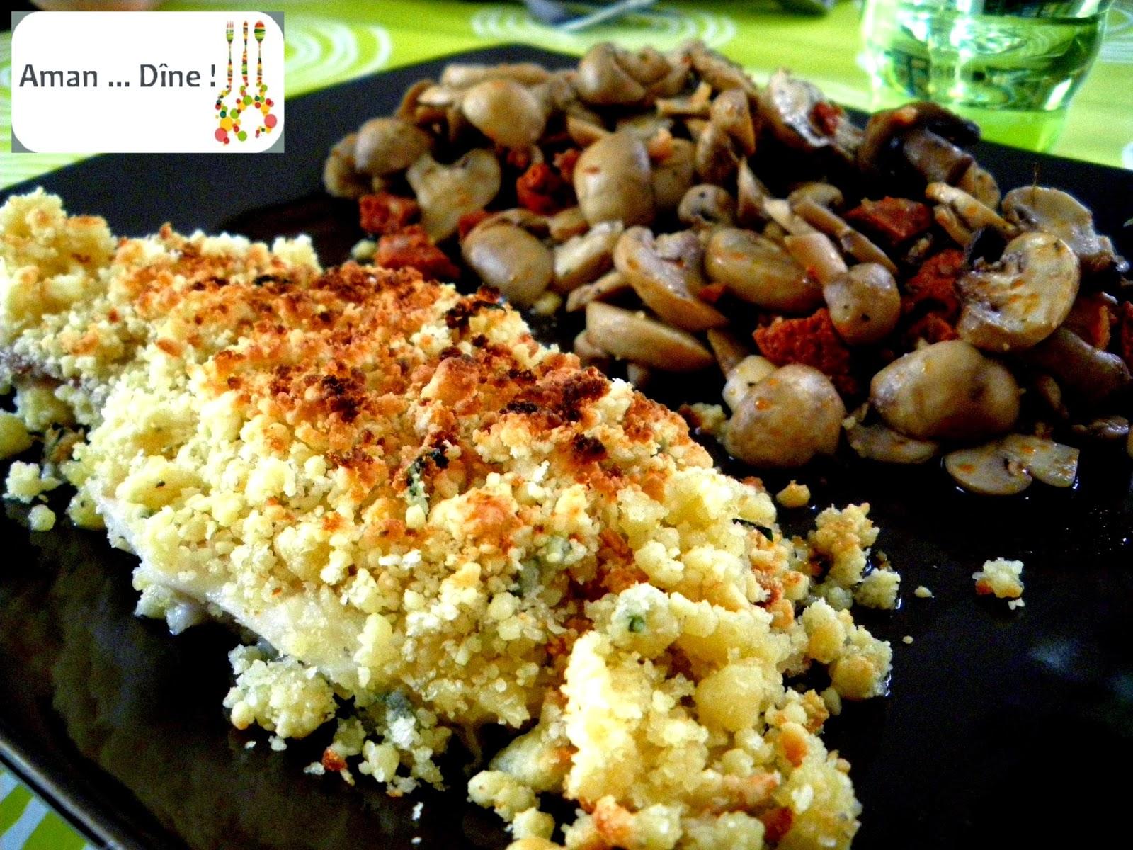 Crumble de dorade au basilic, champignons et chorizo