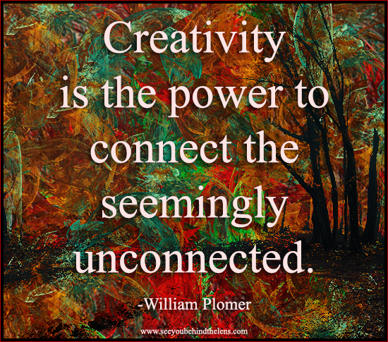 Thoughtful Thursday Photography Quote on See You Behind the Lens... Creativity is the power to connect the seemingly unconnected. #photography #quote