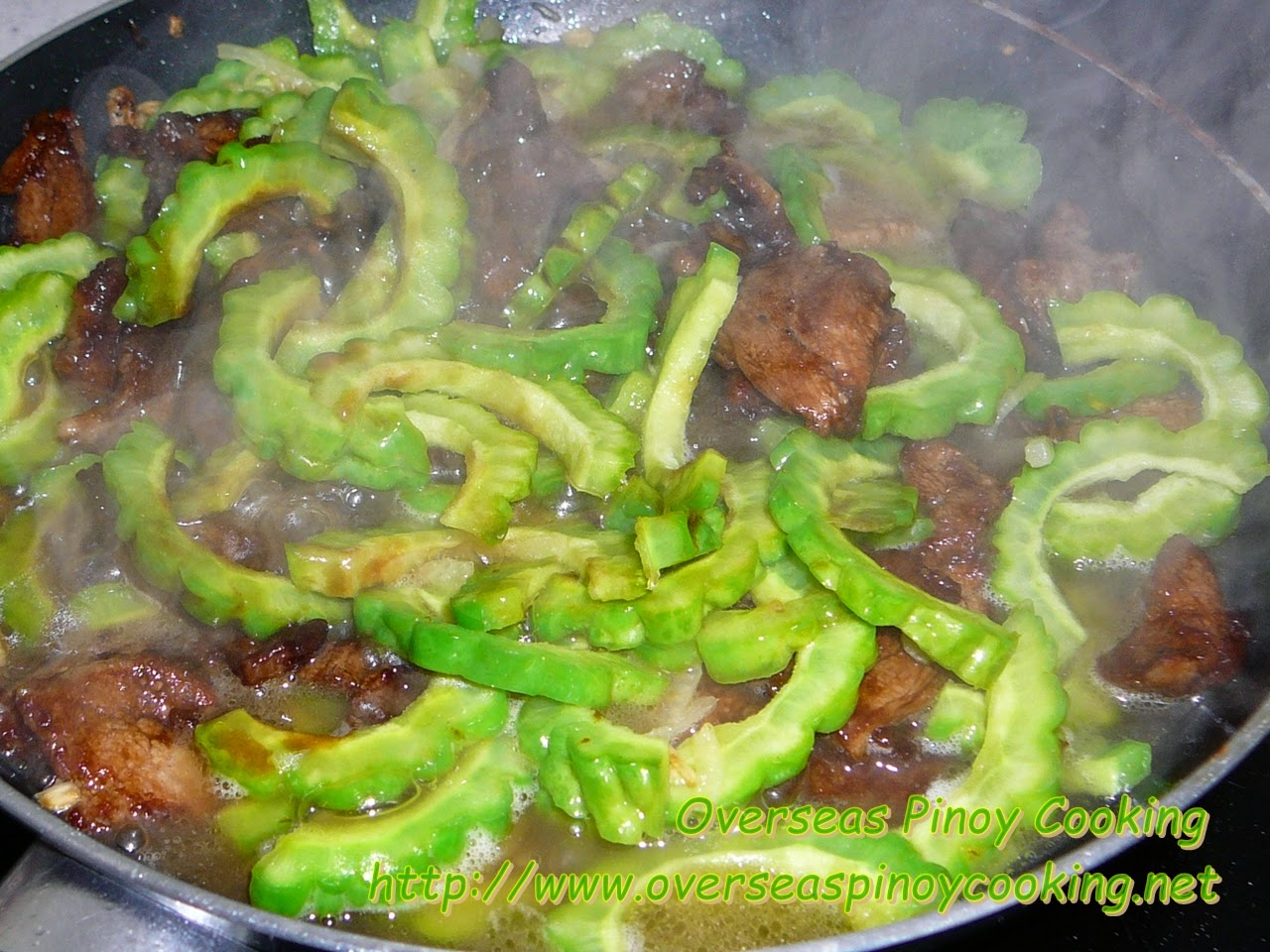Pork and Ampalaya with Oyster Sauce - Cooking Procedure