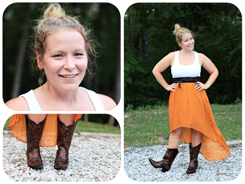 target skirt, brown boots, belted skirt, yellow skirt, tank top, ozark folk center, country outfitter, boots, skirt and boots, leaf earrings