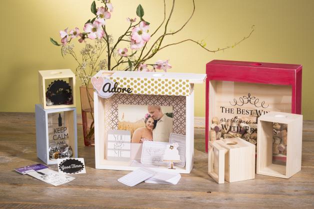 Unfinished Wood Storage Box @Craftsavy, #craftwarehouse, #weddings, #Bottlecaps, #Winecorks