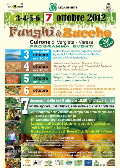 Domenica 7 ottobre Cuirone di Vergiate VA Funghi & Zucche