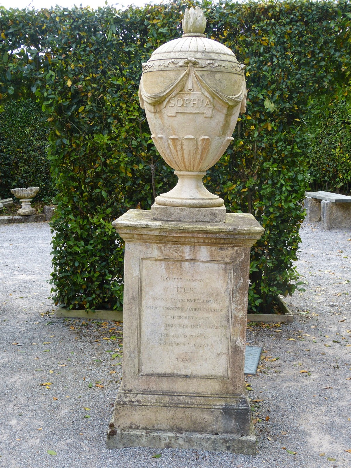 Memorial to Sophia in the French garden
