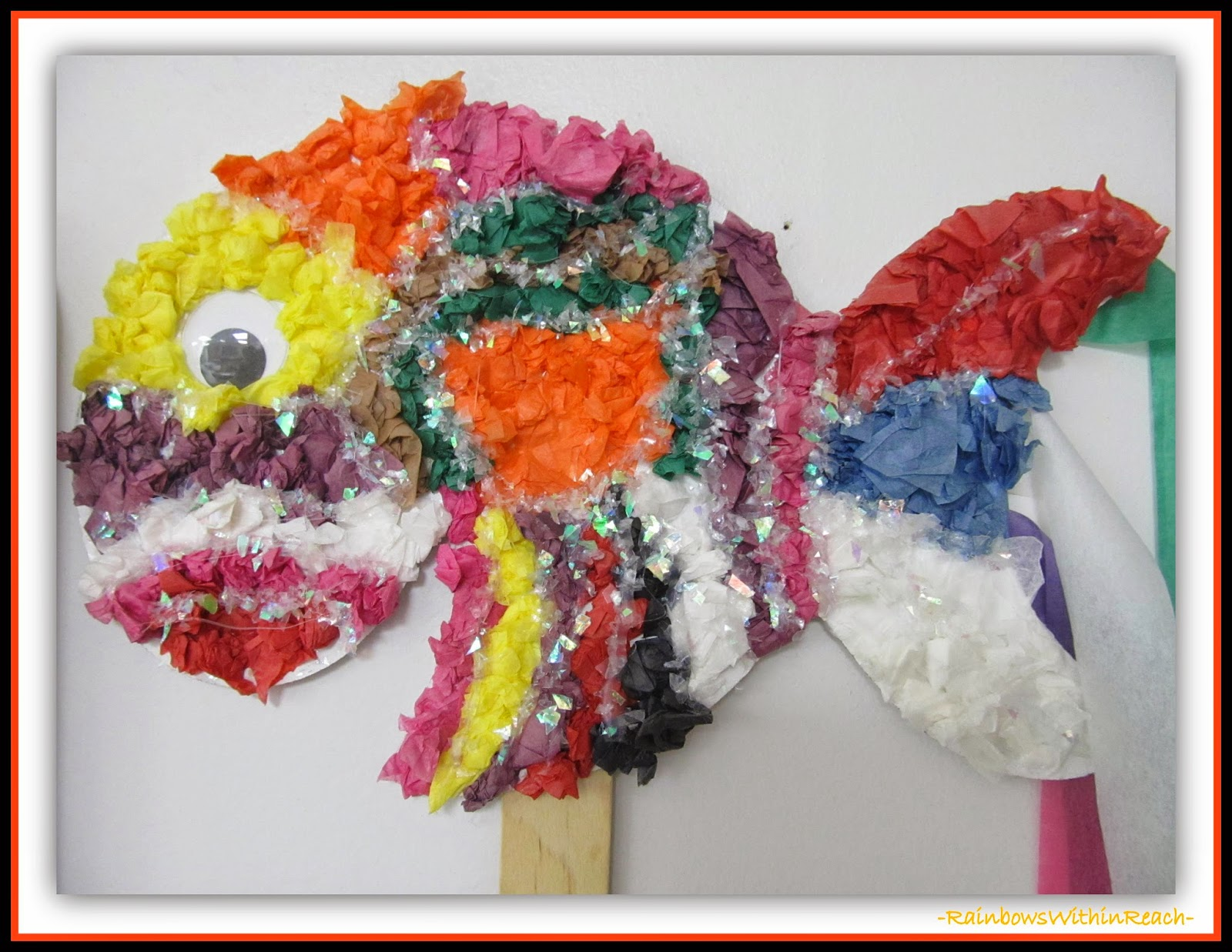 Textured Fish Storytelling Prop {Ocean RoundUP of a GAZILLION Ideas at RainbowsWithinReach}