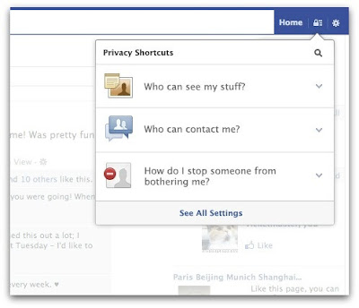 Facebook adds shortcuts of privacy settings