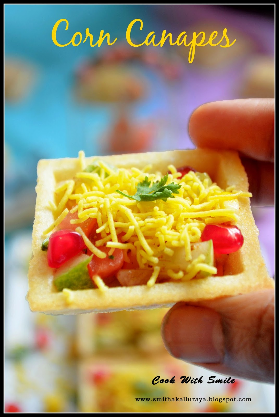 Corn canapes corn sev canapes indian canapes recipe for Canape shells
