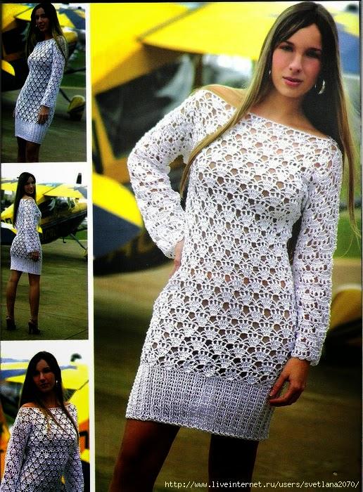 Vestido blanco tejido a crochet paso a paso