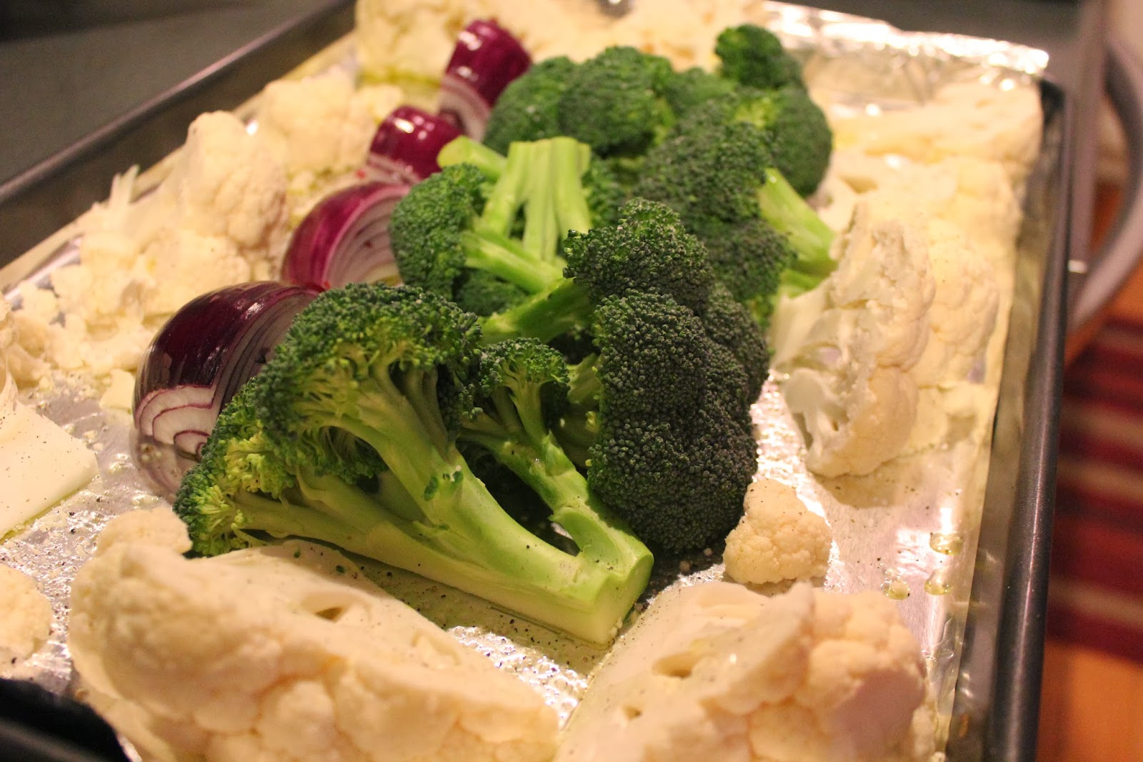 Cauliflower, broccoli, and shallots
