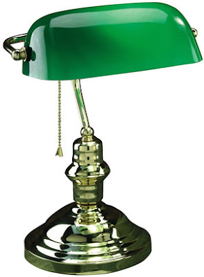 Lite Source LS-224AB 1 Light Banker's Lamp, Antique Brass With Green Glass Shade
