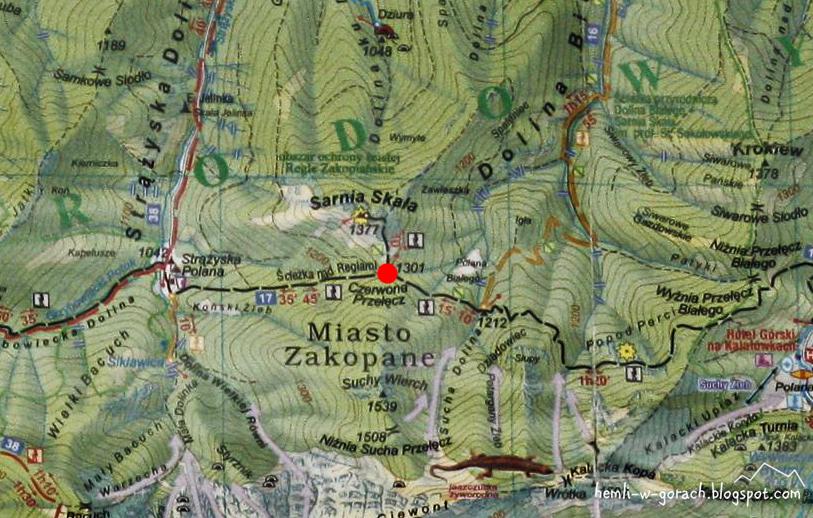 Czerwona Przełęcz - mapa