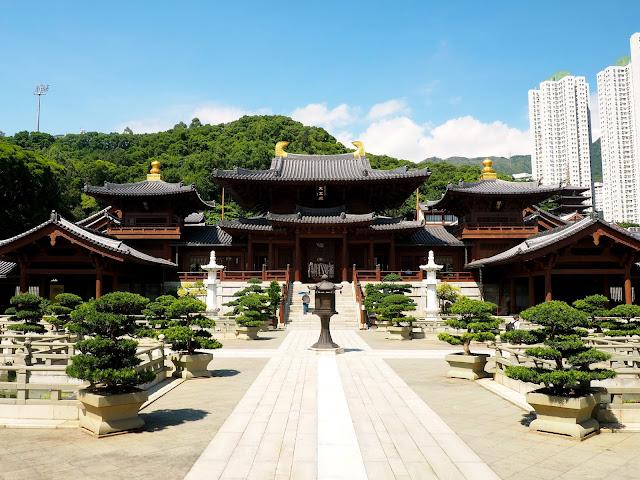 Buddhist temples of Chi Lin Nunnery in Nan Lian Gardens, Kowloon, Hong Kong