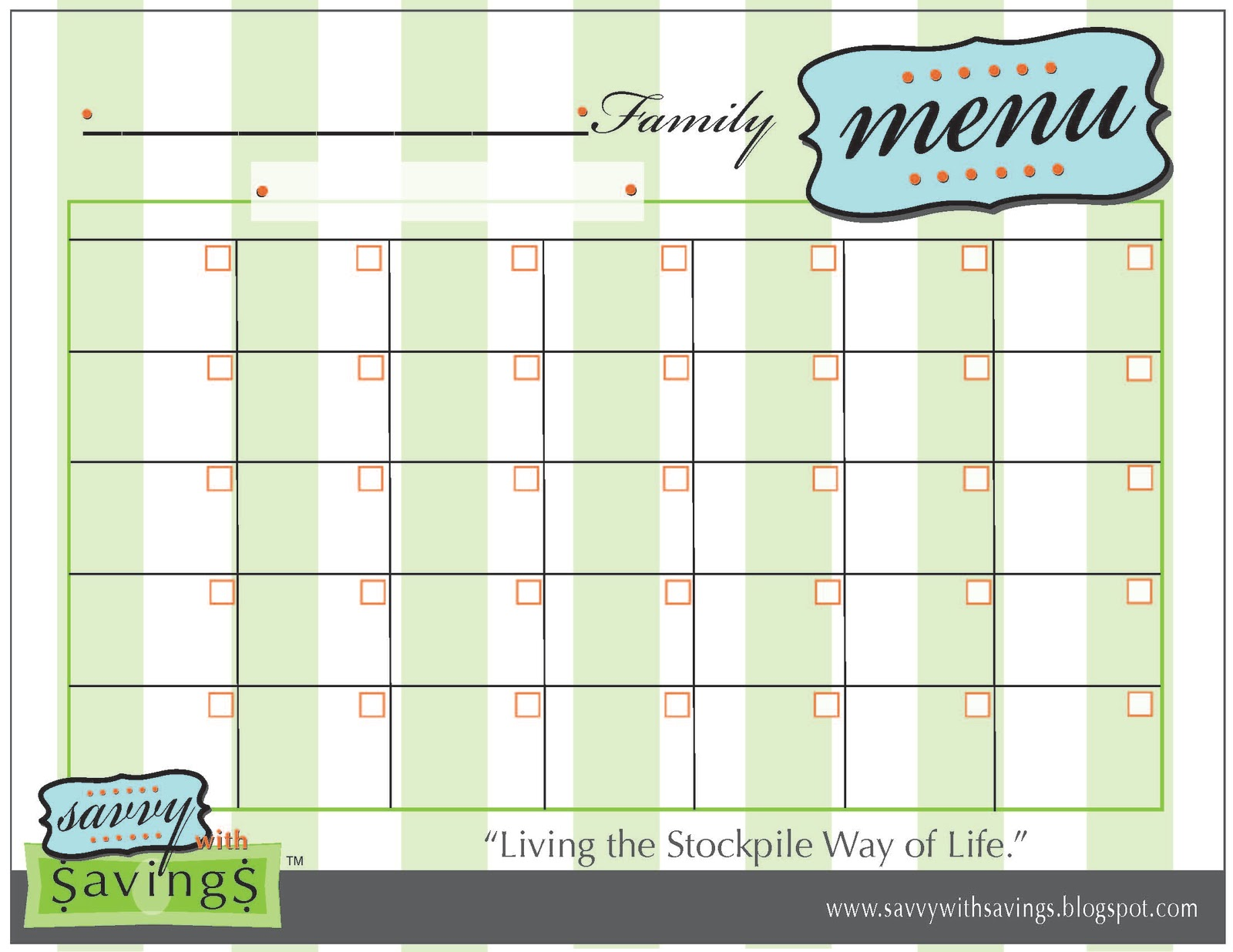 monthly menu calendar template
