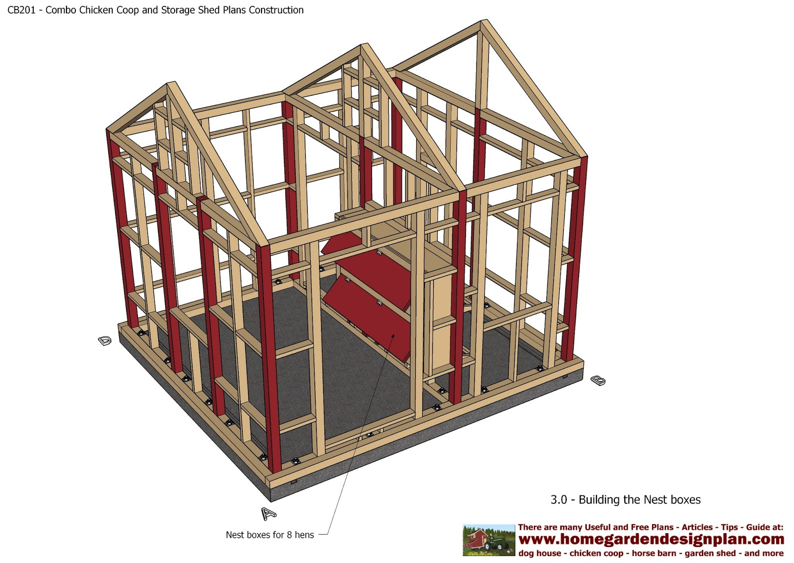 Cb201 combo plans chicken coop plans construction garden for Garden shed designs 5