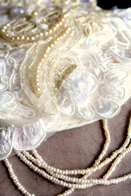 lace and pearl 1920s style bridal accessory headpiece - catherine masi