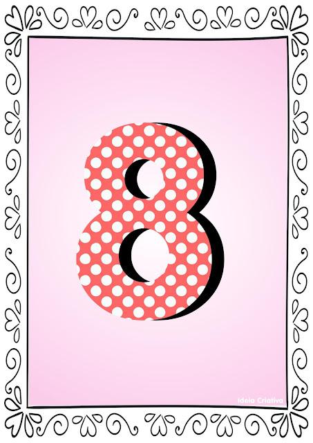 Numerais de Poá colorido com bordas 8