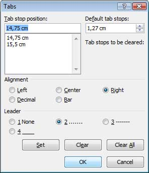 Tab Position MS Word