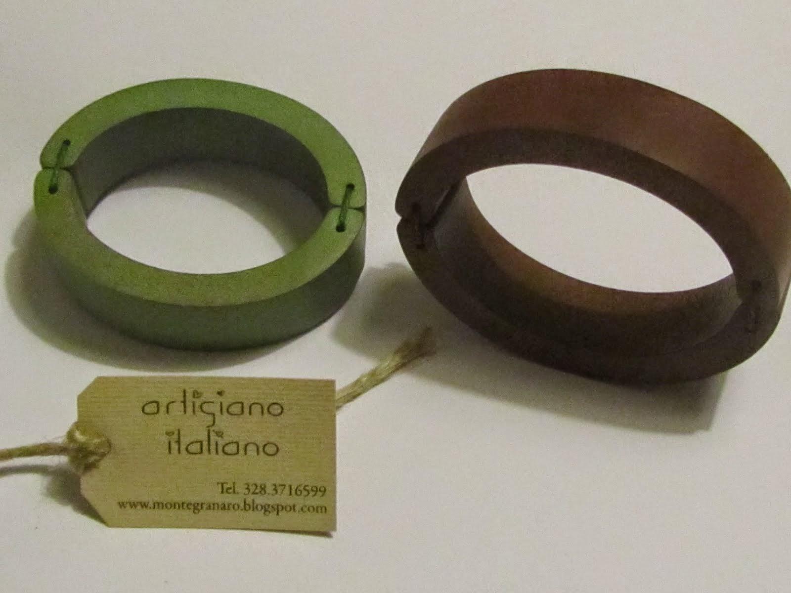 Bracciali torniti a mano, fatti di legno, colorati a mano, personalizzati