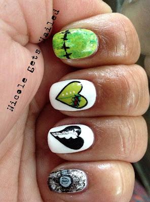 Frankenstein Heart Halloween Nails