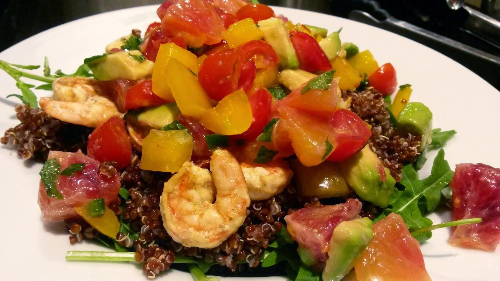 Delightful Blood Orange Avocado Pico with Chili Lime Shrimp Quinoa Salad