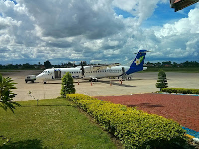 Lao Airlines plane at the airport in Savannakhet