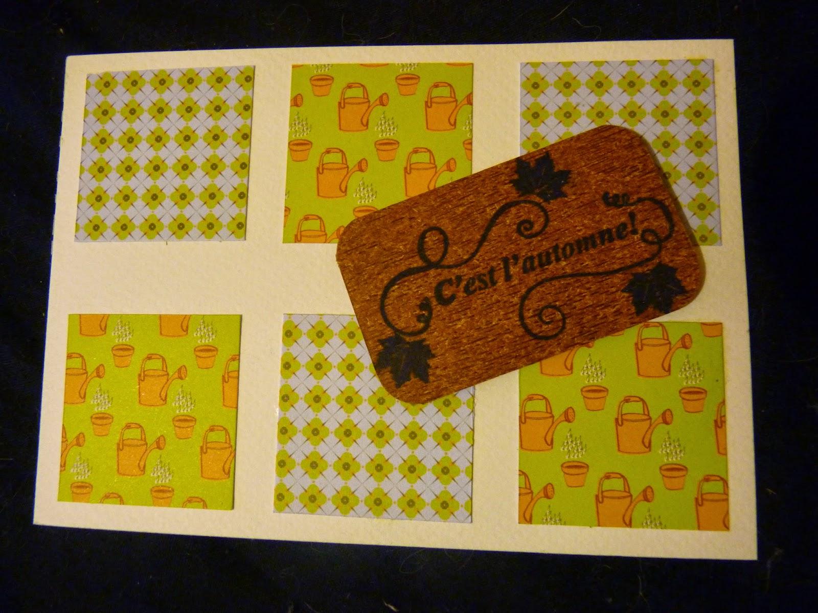 carte automnale, papier toga, le petit jardinier, tampon clear, tampon automne, papier beige, cardstock