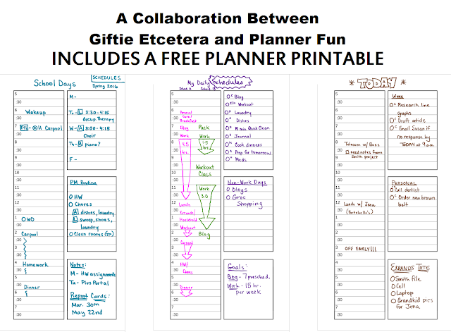 Planner Fun, Giftie Etcetera, schedule, schedules, scheduling, scheduling in a planner