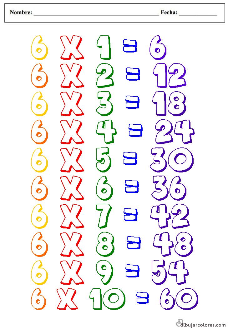 de primaria fichas para colorear y aprender las tablas de multiplicar