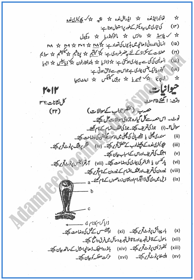 Botany-urdu-2012-past-year-paper-class-XII