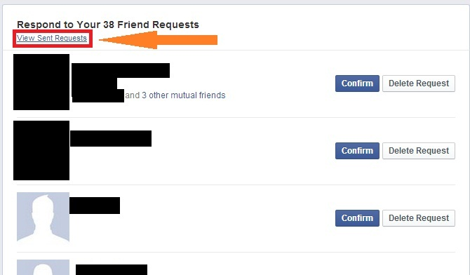 See all friend requests you have sent on facebook