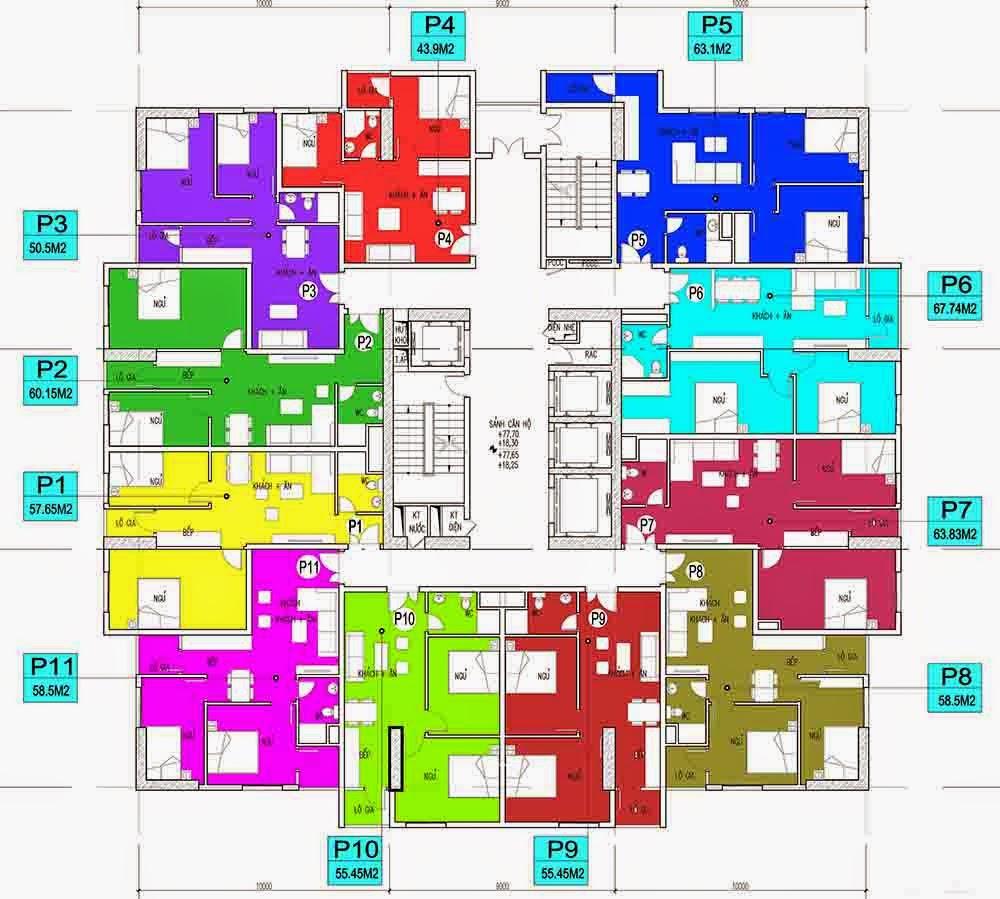 Sơ đồ mặt bằng căn hộ chung cư CT Number One