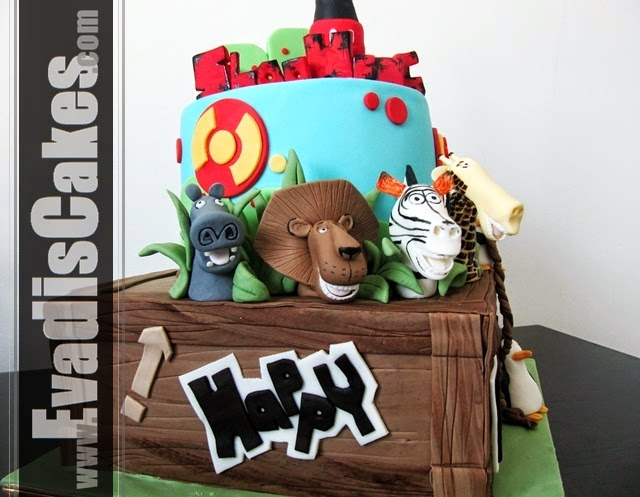 Picture of Madagascar characters on cake