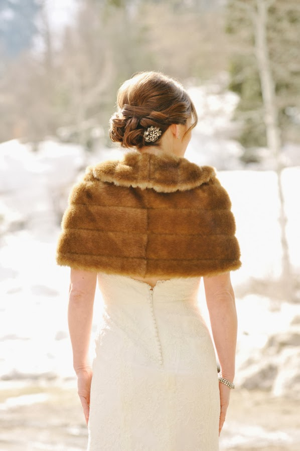 winter bride in vintage fur shrug