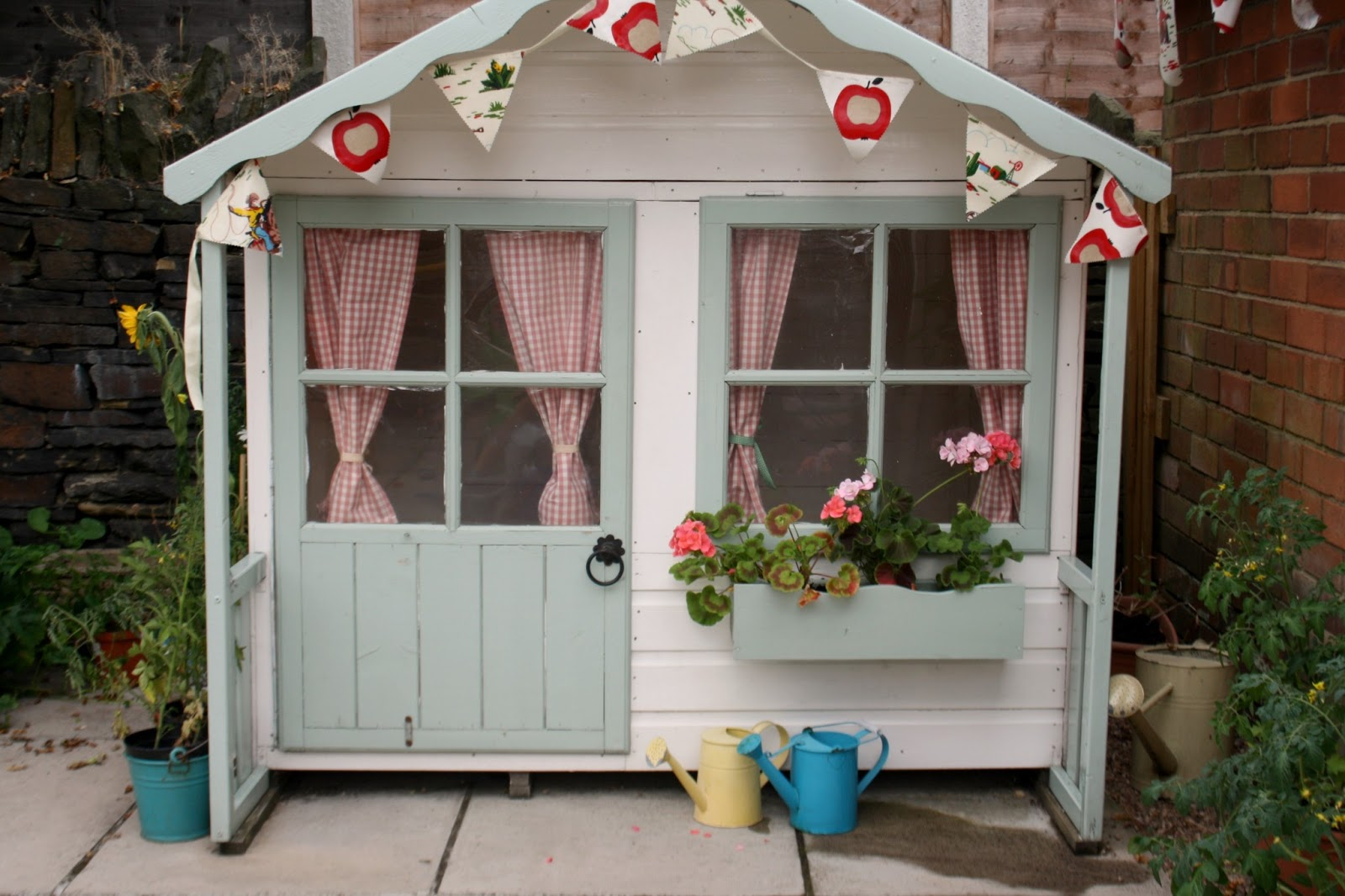 Tales from a happy house a garden playhouse makeover for Wooden wendy house ideas