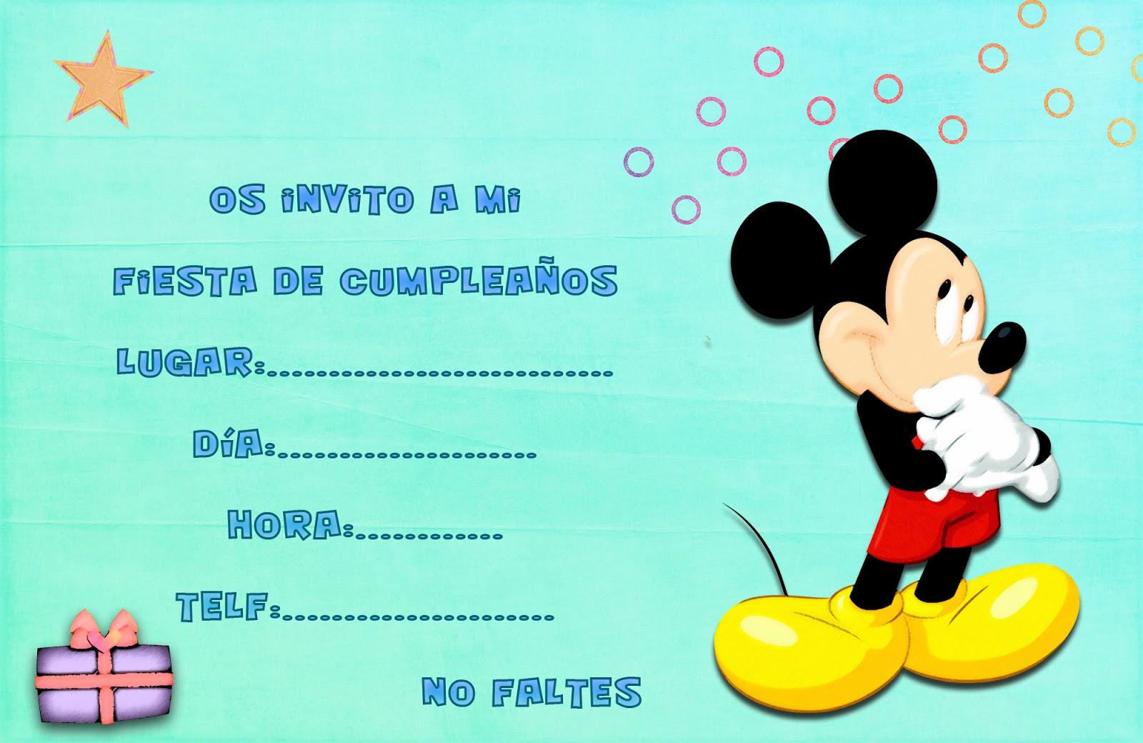 Tarjeta para invitaciones de cumpleaños Mickey | Invitaciones gratis ...