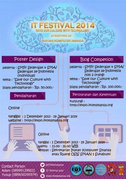 IT Festival 2014: Lomba Blog dan Lomba Desain Poster SMAN 1 Sukabumi