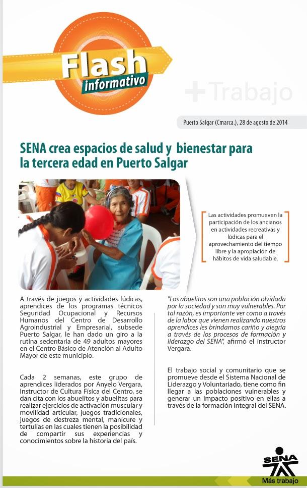 SENA crea espacios de salud y bienestar para la tercera edad en Puerto Salgar
