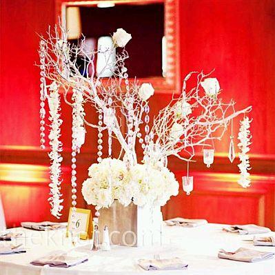Centros de mesa con ramas y cristales parte 2 - Cristales de colores para mesas ...