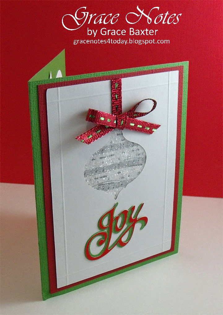 green musical ornament card, front