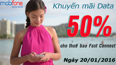 Mobifone tặng 50% data Fast Connect ngày 20/1