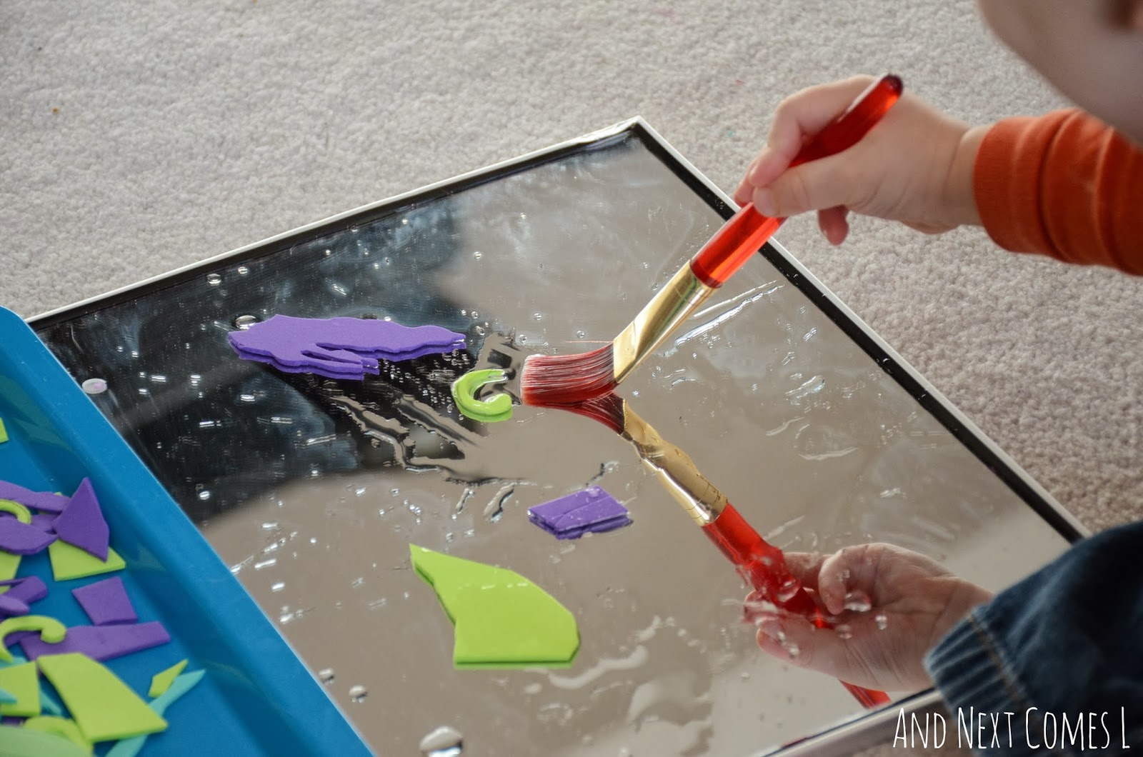 """""""Painting"""" craft foam on a mirror from And Next Comes L"""