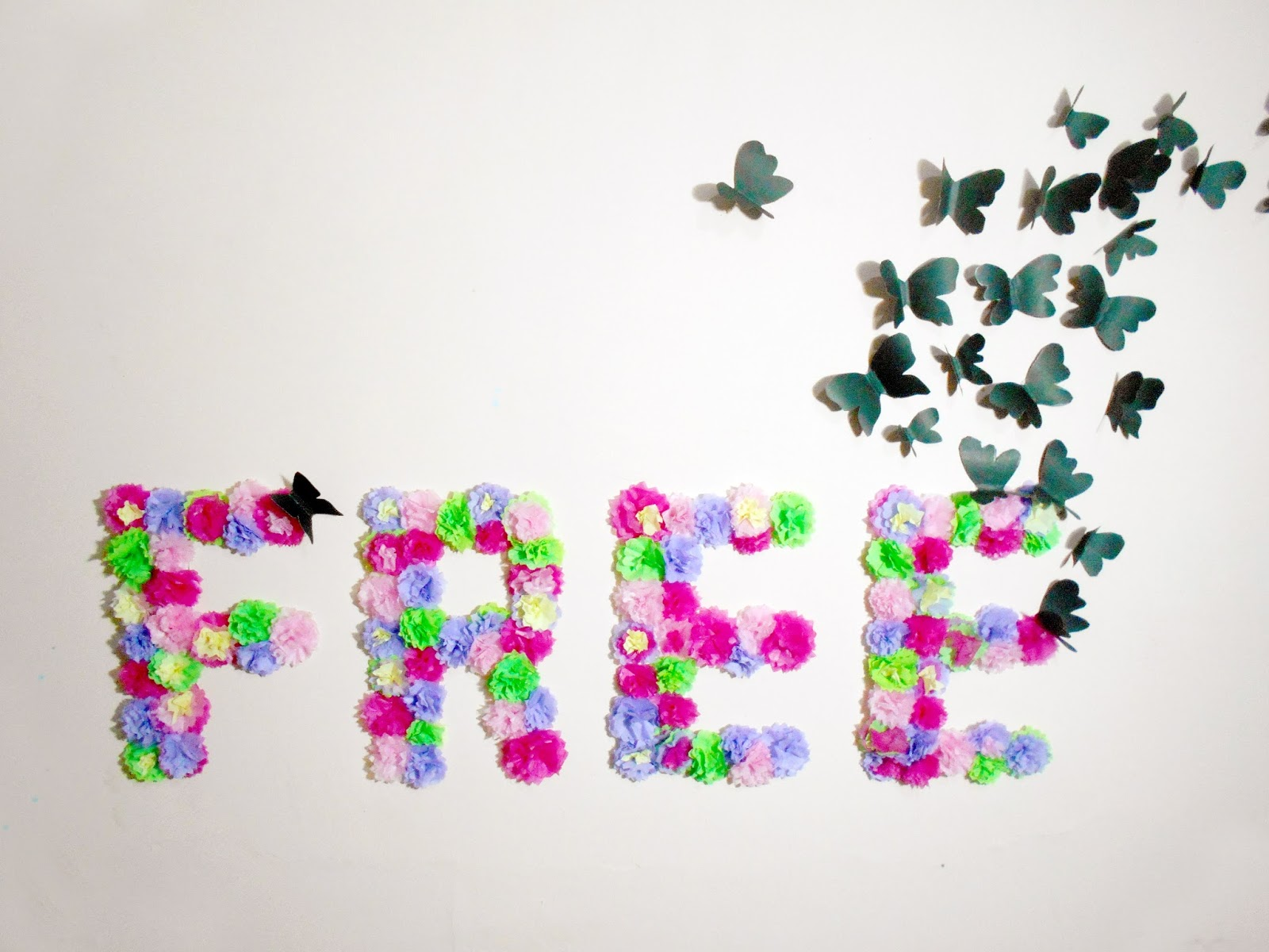 Diy paper flowers and butterflies wall art room for Decoration paper