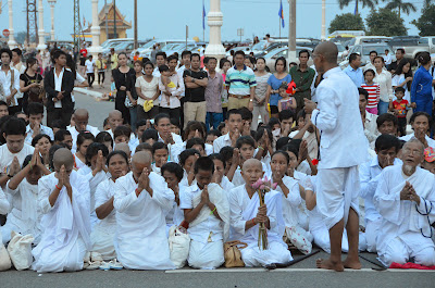 Death of King Norodom Sihanouk, mourners at Royal Palace, Phnom Penh, Cambodia