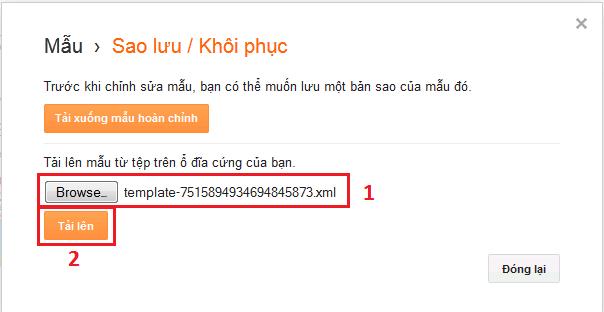 Giao diện Restore sau khi Browse và chọn file backup có đuôi .xml