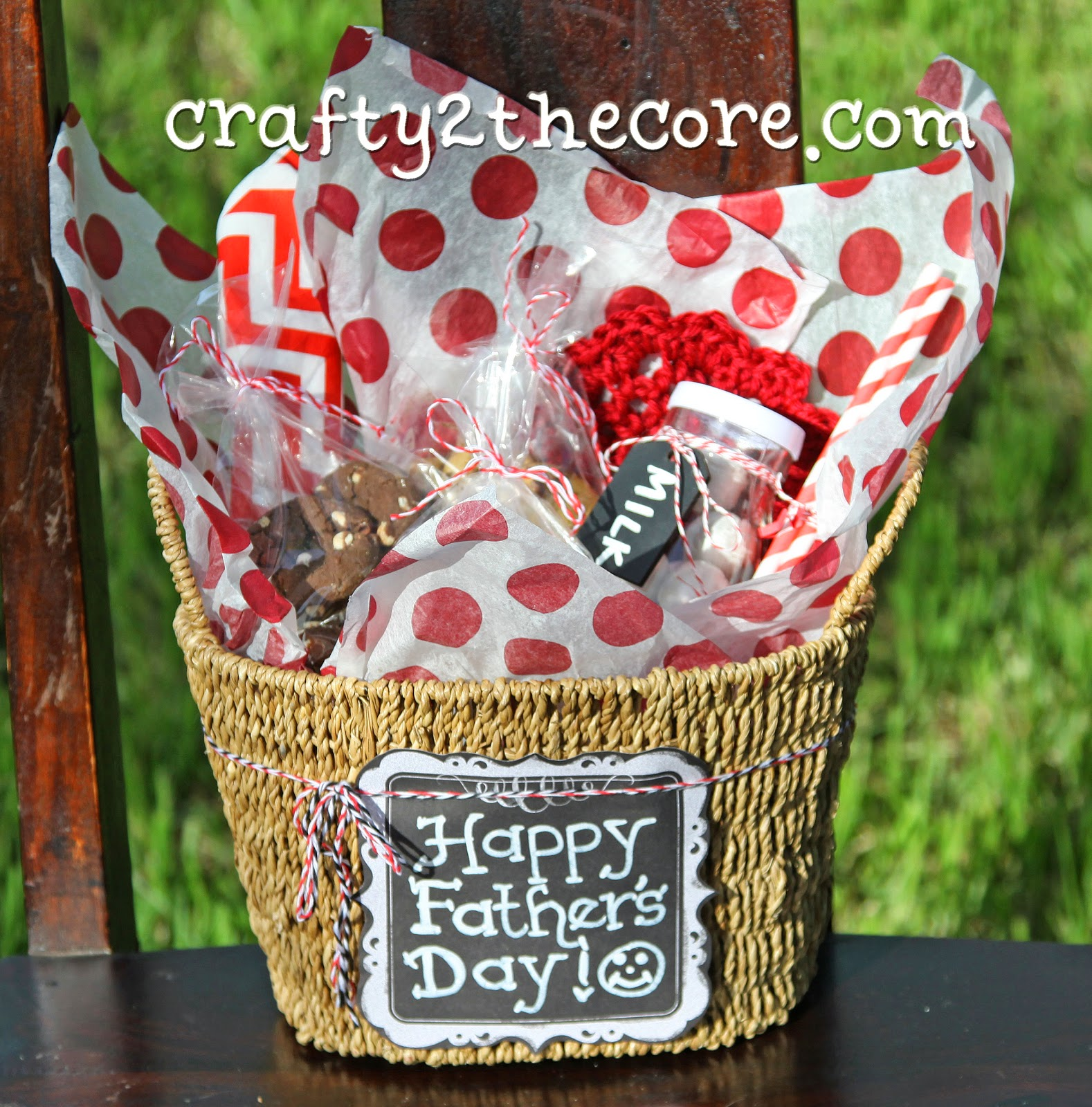 Father's Day Gift Basket Idea with Mrs. Field's new Fudge Dipped Nibble Cookies, Jar of milk, straw, napkin & candy.
