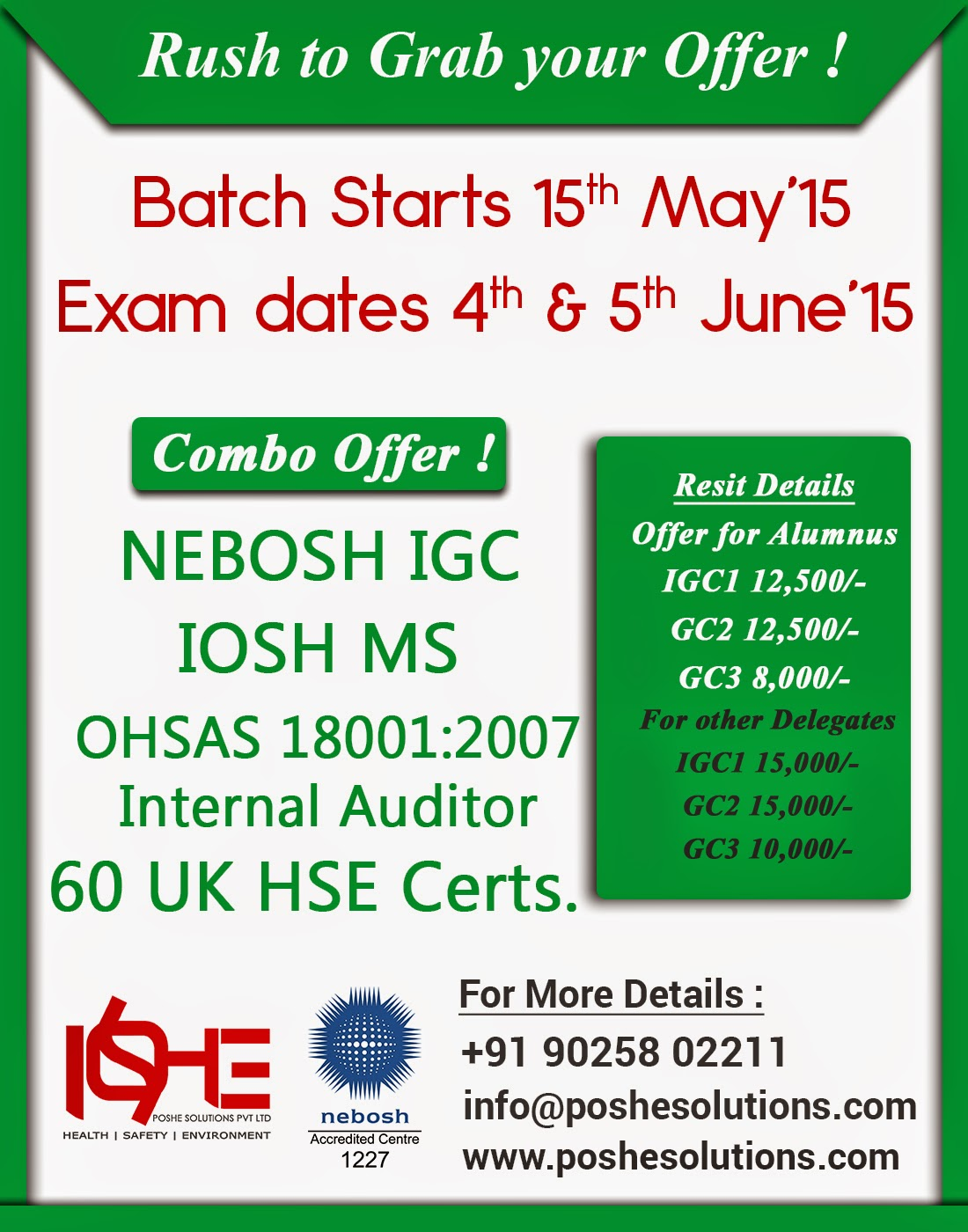 Nebosh IGC Course In Chennai Is An International General Certificate Occupational Health And Safety