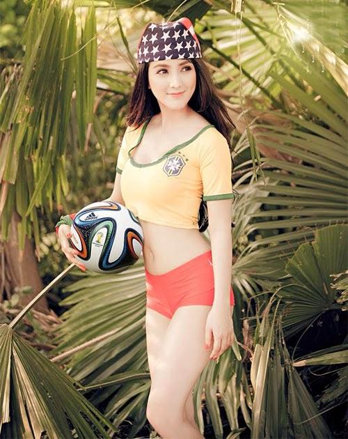 Linh Napie gợi cảm trong màu áo Brazil