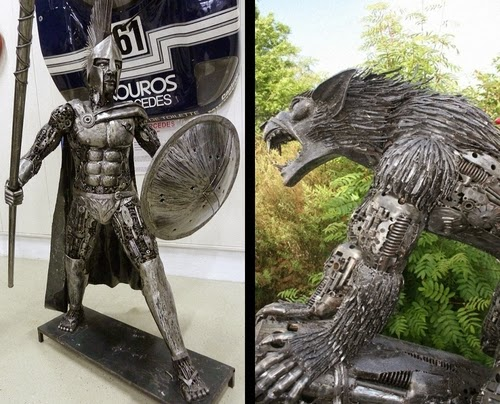00-Fantasy-Sculpture-Archangel-Michael-and-Motoman-Giganten-Aus-Stahl
